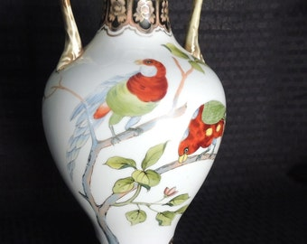"Antique Hand Painted Nippon ""handled"" vase"