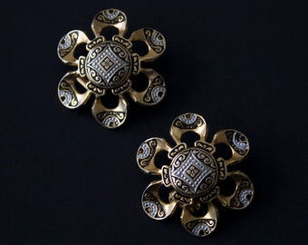 Vintage Damascene Spain Flower Clip On Earrings
