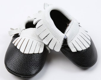 Leather Black/Ivory Moccasins, Baby Moccasins, Genuine Leather Moccasins, Toddler Moccasins, Colorful Baby Shoes