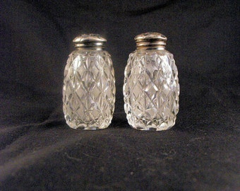 Antique Diamond Cut Moulded Glass Salt and Pepper Set