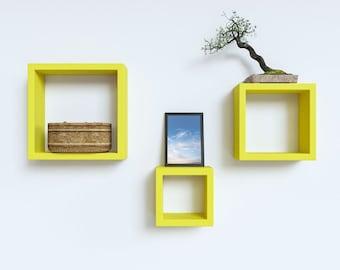 DecorNation Floating Wall Shelf Rack Set Of 3 Nesting Square Wall Shelves - Yellow