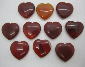 "Bulk 1""(25X7MM) Carnelian Pocket Hearts - 10 PC. LOT"