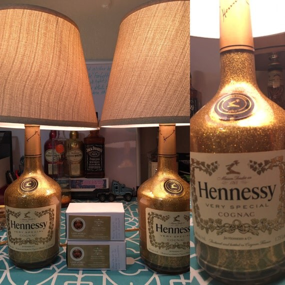 Decorated Hennessy Bottle Captivating Items Similar To Gold Glitter Hennessy Liquor Bottle Lamp On Etsy Inspiration