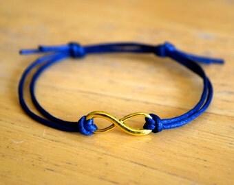 Infinity Bracelet, Waxed Cotton Bracelet, Adjustable, Antique Gold Infinity Charm, Waxed Cotton, Infinite Love