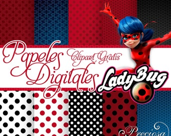 Digital papers Ladybug + Free Clipart