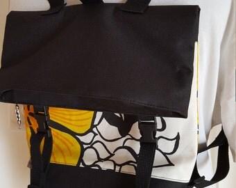 Backpack canvas PANYMOON - orange flower - lined
