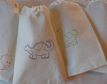 20 Dinosaur muslin cotton party favor bags 4x6 inch - birthday party favor bags