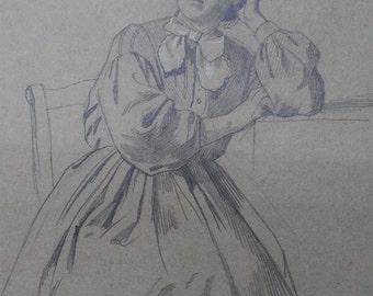 PORTRAIT IN PENCIL - 19TH CENTURY