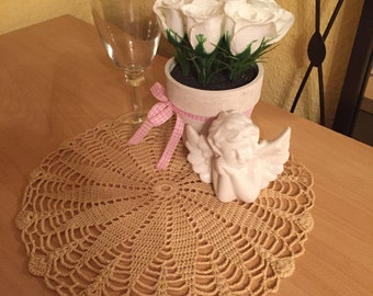 Hand made crocheted Doilies Brown