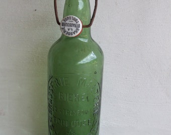 Green Beer Bottle 1931. French Beer Bottle.