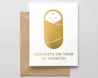 Baby Congrats Gold Foil Stamped Greeting Card