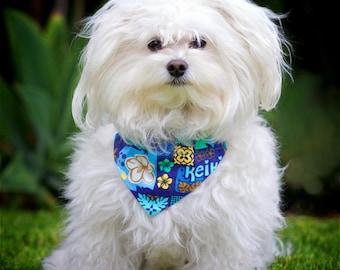 Reversible Blue Hawaiian Dog Bandana