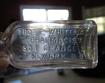 1890's Thos. Whitenack Pharmacist 503 Orange St. Newark, N. J. Embossed Medicine Bottle