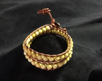 Handmade beautiful beaded wrap bracelet, chan luu style fashion, one of a kind stone leather wrap bracelet