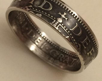 1955 One Shilling Handmade Coin Ring
