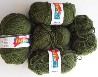 Khaki yarn, Phildar Impact, cheap yarn, knitting yarn, crochet yarn, acrylic yarn, synthetic yarn, fine yarn, yarn lot