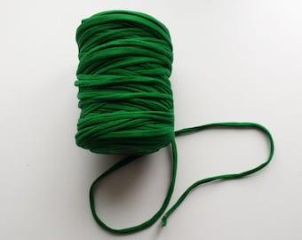 Green t-shirt yarn, green thsirt yarn, upcycled yarn, vibrant green yarn, super bulky yarn, cotton yarn, bulky cotton yarn, cheap yarn