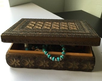 Old Vintage Hand carved wooden jewelery box