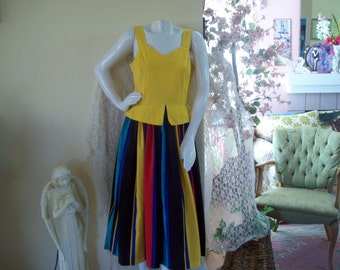 1960's vintage sundress, bold striped skirt with sunflower colored bodice, size 14