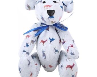 Posable Cute Teddy Bear with Splendid Stags Pattern.
