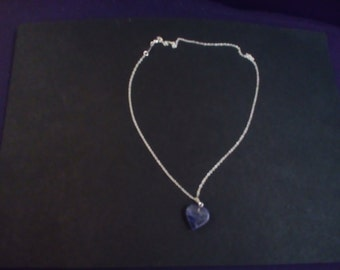 925 Sterling Silver necklace with heart shaped blueberry quartz pendant