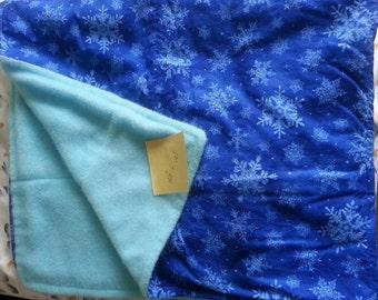 Blue Snowflake Baby Blanket