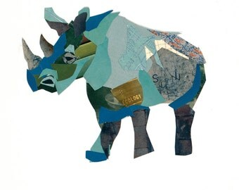 Limited edition print from an original collage of a Rhino