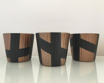 Abstract Patterned, Black and Copper Pots