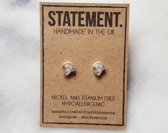 Albert Einstein German Physicist / Scientist / Genius Face / Head Stud Earrings - 1 pair