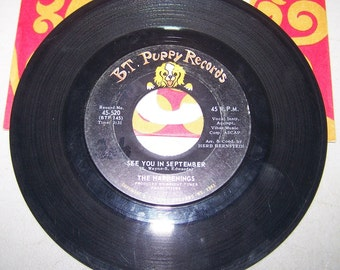 """1960's Hit 45 rpm Record By The Happenings, """"See You In September"""""""