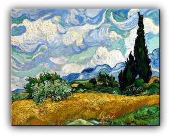 Van Gogh painting, Oil Painting Reproductions , Wheat Field with Cypresses by Vincent Van Gogh, Made to Order Painting, ready to hang
