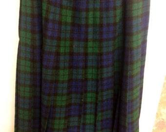 Vintage Pendleton Black Tartan Watch Blue and Green Wool Kilt Skirt Sz 12