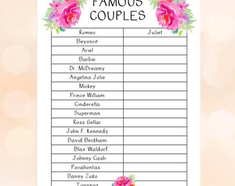 Wedding Shower Famous Couples Game, Couples Shower, Engagement Party, Printable Party Game