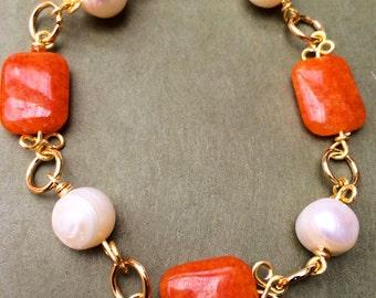 Pearls bracelet, Pearls and semi precious gemstones bracelet,