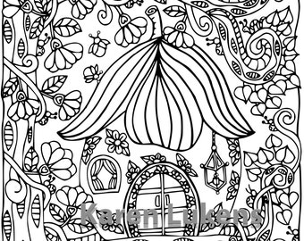 Happyville Fairy House #1 , 1 Adult Coloring Book Page, Printable Instant Download