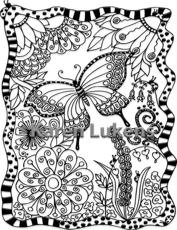 Butterfly Garden 1 Adult Coloring Book Page Printable