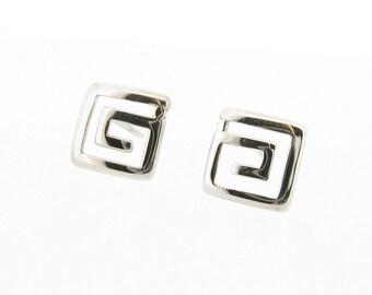 Sterling Silver Greek Key Design Stud Earrings