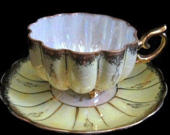 Royal Sealy China Footed Tea Cup and Saucer
