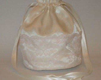 Ivory Satin & Pink Lace Dolly Bag Evening Handbag Or Purse For Wedding Or Bridesmaid