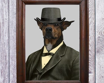 Dog Print. Animals Fun. Decor Wall . Dog in a suit.Poster. No.CODE 027