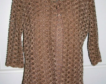Vintage 80's chocolate brown velvety crocheted & beaded embellished stunning ladies twinset (top + cardigan) ft. lovely buttons size: medium