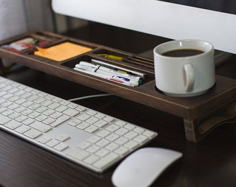 Old Wood Office Desk Organizer Desktop Shelf Office Organized Home Organized Keyboard Rack Wooden Desktop Storage Accessories Rack Gift