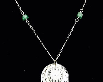Watch dial and movement necklace in sterling silver