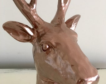 Trending Rose Gold Stag Deer Head Ornament Home Decor