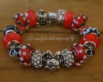 Red & White Polka Dots Minnie Mouse Themed European Style Bracelet