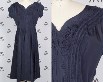 1950s Midnight Blue Fit and Flare Dress