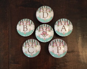 1.5 inch pink mint white initial monogram cabinet knobs drawer pulls baby girl nursery