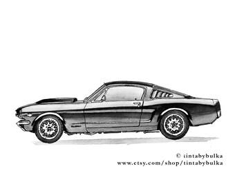 Sport Car Original Painting Mustang Painting Automotive Fine Art Classic Car Automotive Art Home Decor Automotive