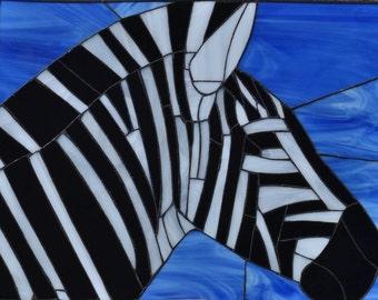 Monochrome ZebraTiffany style Stained glass Hand made Original work Art