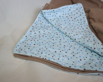 Blue and Brown Polka Dot Reversible Baby Blanket, Baby Shower Gift, Baby Boy